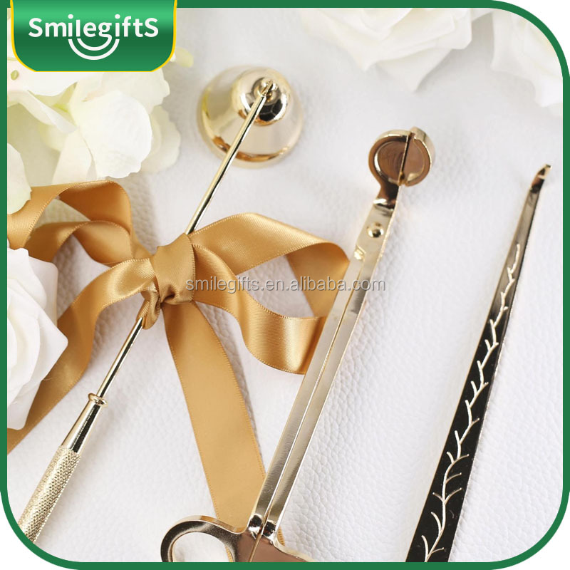 A set of high quality manual gold candle wick trimmer snuffer and dipper