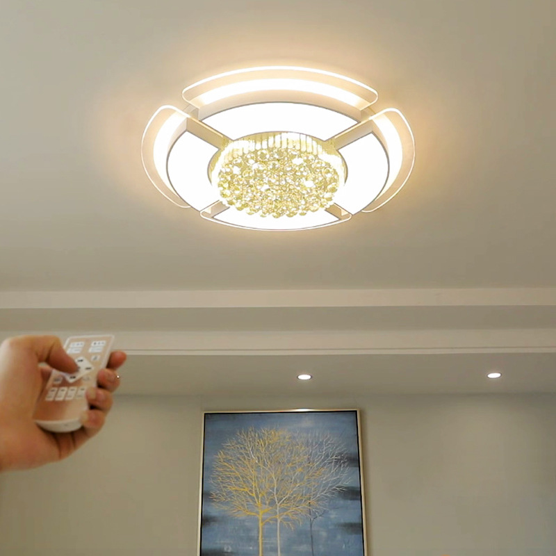 2018 Wholesale Cheap 52w 92w Home Decorative Round Ceiling Lamps Modern Flush Surface Mounted Bedroom Crystal Led Ceiling Light