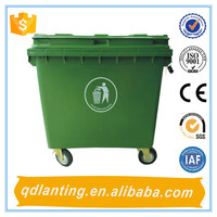 China1100L pedal large outdoror waste recycle container bulk trash bins plastic
