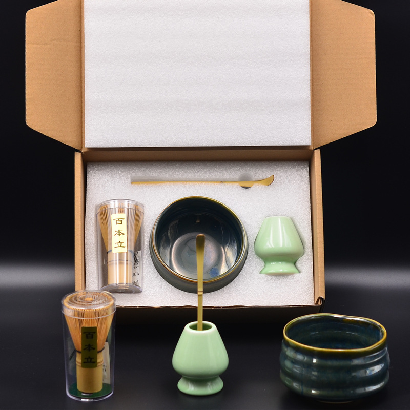 4pcs/set Matcha Mixing Teaware Set Japanese Ceramic Tea Ceremony Tool Tea Spoon Holder Bamboo Matcha Whisk Kits