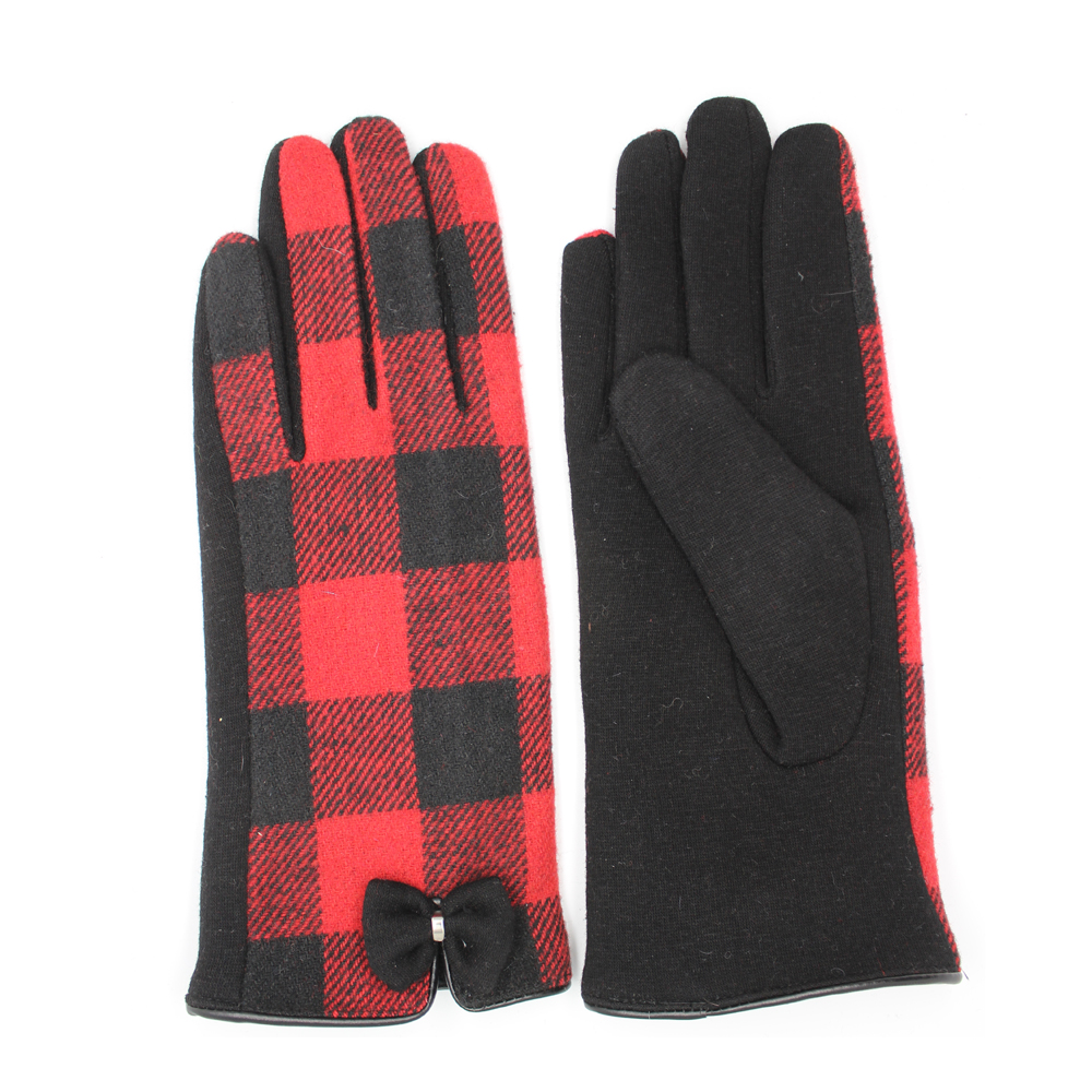 cheap women's Red and black plaid cloth and spandex velvet gloves with