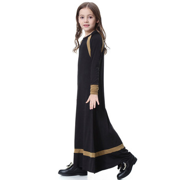 Muslim Long Sleeve Dress For Girl Child Kid Abaya Islamic Dubai Arabic Robe Gowns Traditional 7 8 9 10 11 12 13 14 Year