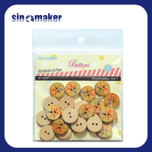 customized colorful 25mm China 3 wood buttons for cloth dress