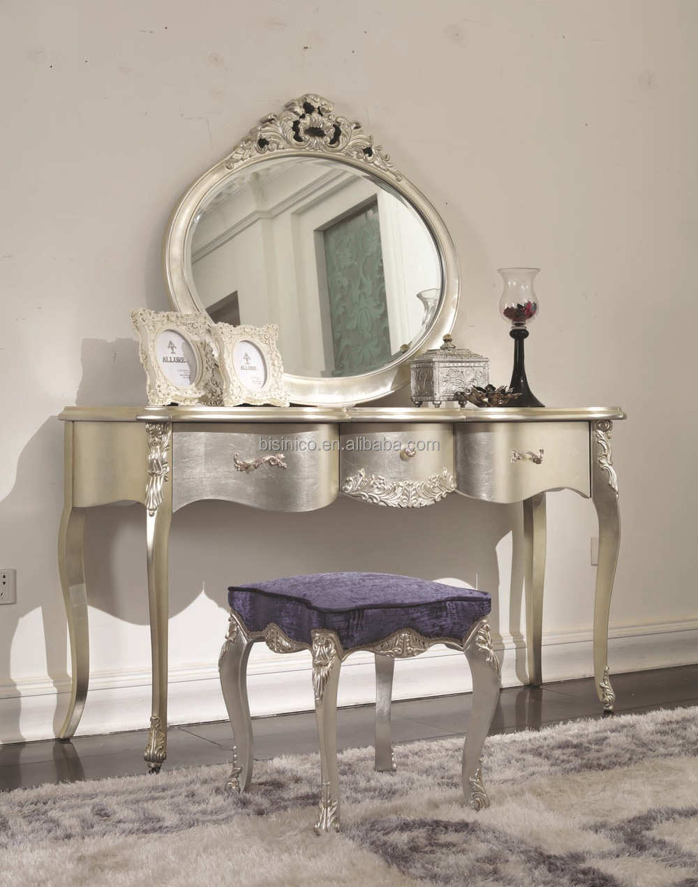Silver Furniture Bedroom Bisini New Classical Furnituresolid Wood Champagne Silver Color