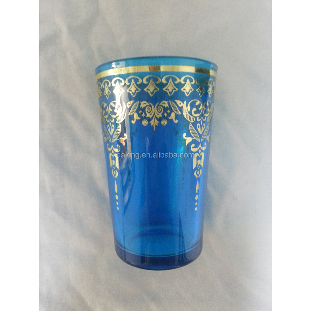 turkish glass for tea cupping set with gold print