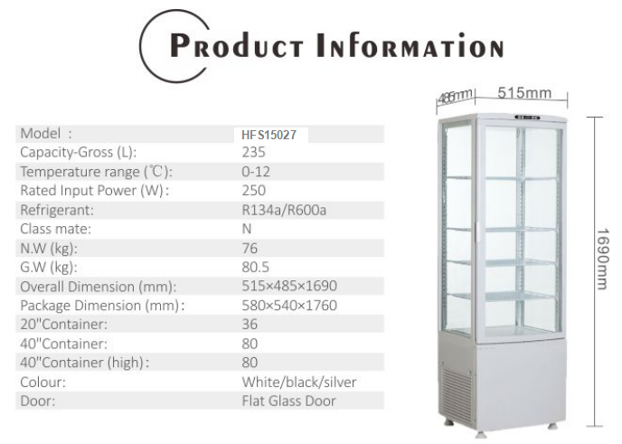235L Glass Door Refrigerator with CE UL RoHS ETL