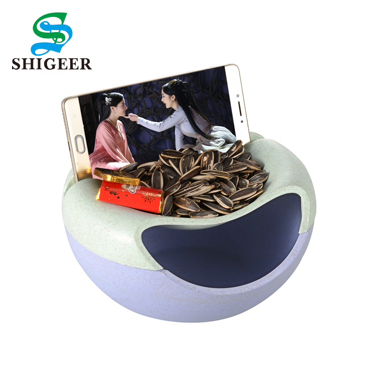 Customized Fashion Eco-Friendly Removable Wheat Straw Dry Fruit Food Tray Lazy Candy Dish