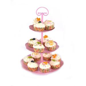 Kitchen Home Pink Metal Iron Powder Coated 3 Tiers Weeding Cake and Cupcake stand for party Wedding Birthday Party Celebration
