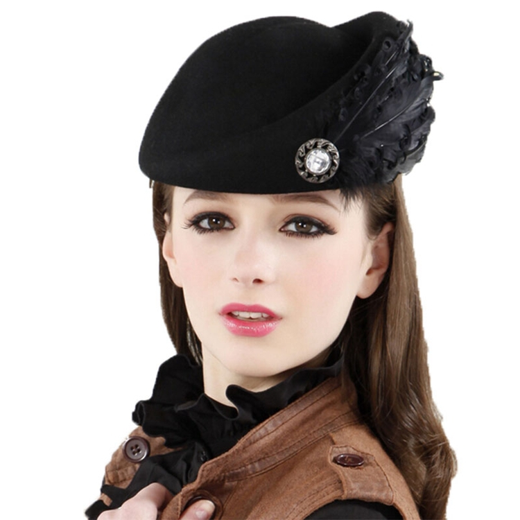531725371dbc2 Get Quotations · Feather Beret Fedora Hats For Women Chapeu Feminino Top  Bucket Church Hats For Black Women Wool