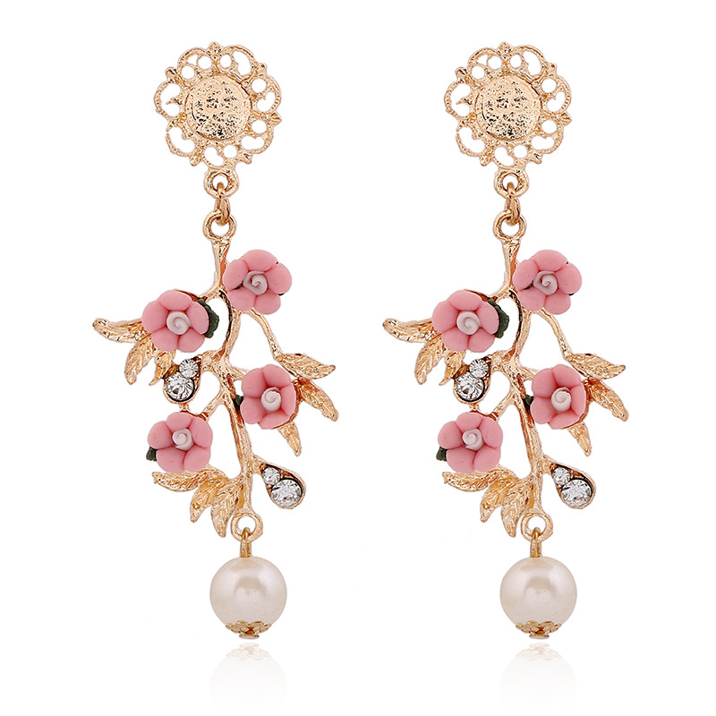 New design Retro fashion vintage jewelry High quality Baroque ceramic flower branch dangle earrings for women