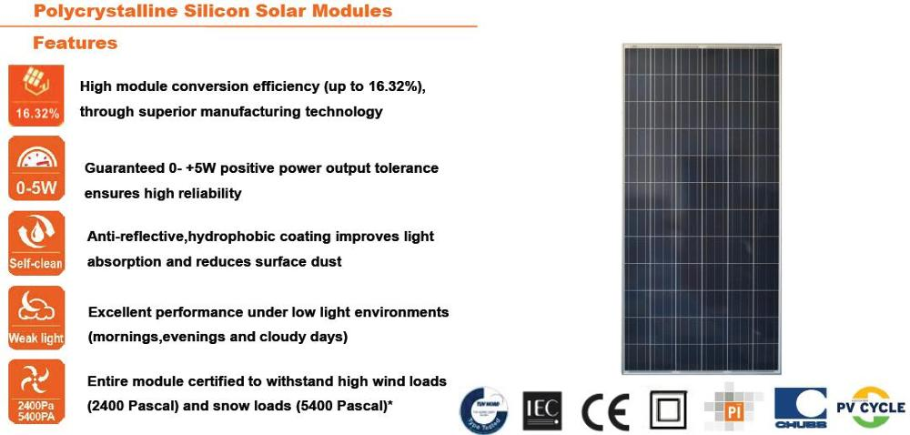High efficiency and best price poly 100kw pv solar panel 250w