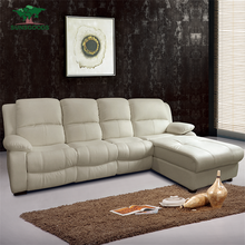 Natural And Comfortable Corner Leather Sofa With Recliners,Living Room Furnitures Leather Corner Recliner Sofa Cum Bed