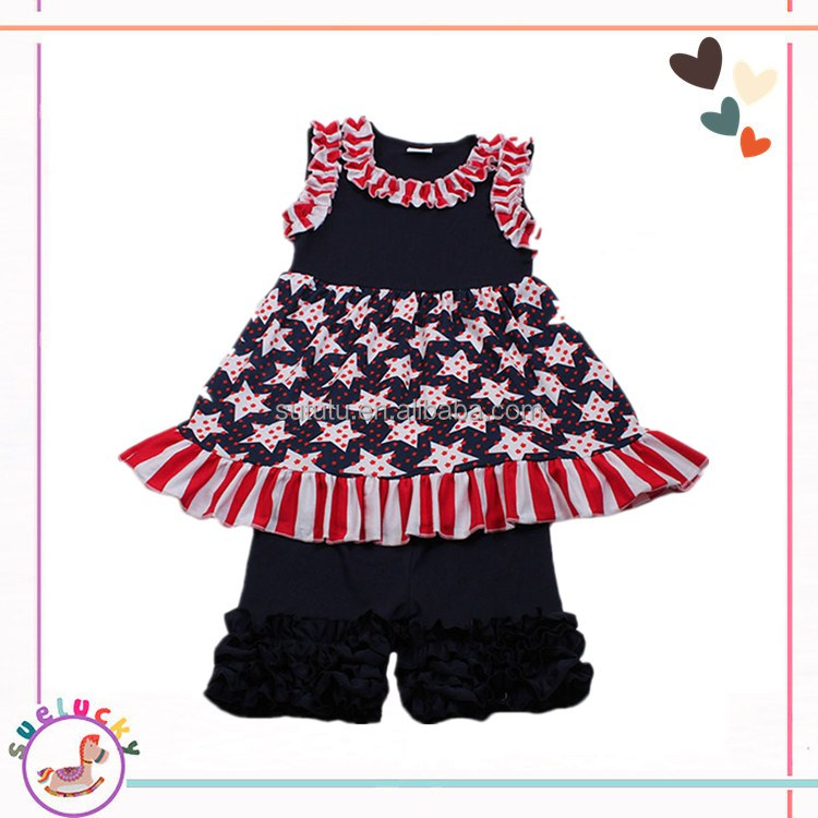 High quality cotton fabric stars dress and shorts vintage childrens boutique clothing sale