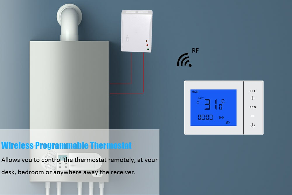 Battery power CE Gas Boiler Wireless Room Thermostat,433MHz programmable wireless  home heating thermostat