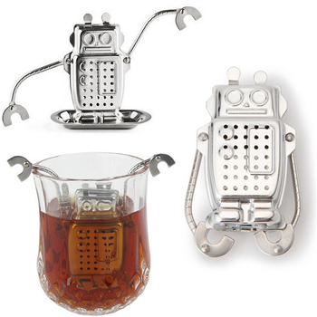 Stainless Steel Robot Tea Leaf Strainer Tea Infuser Filter Tools With Tray