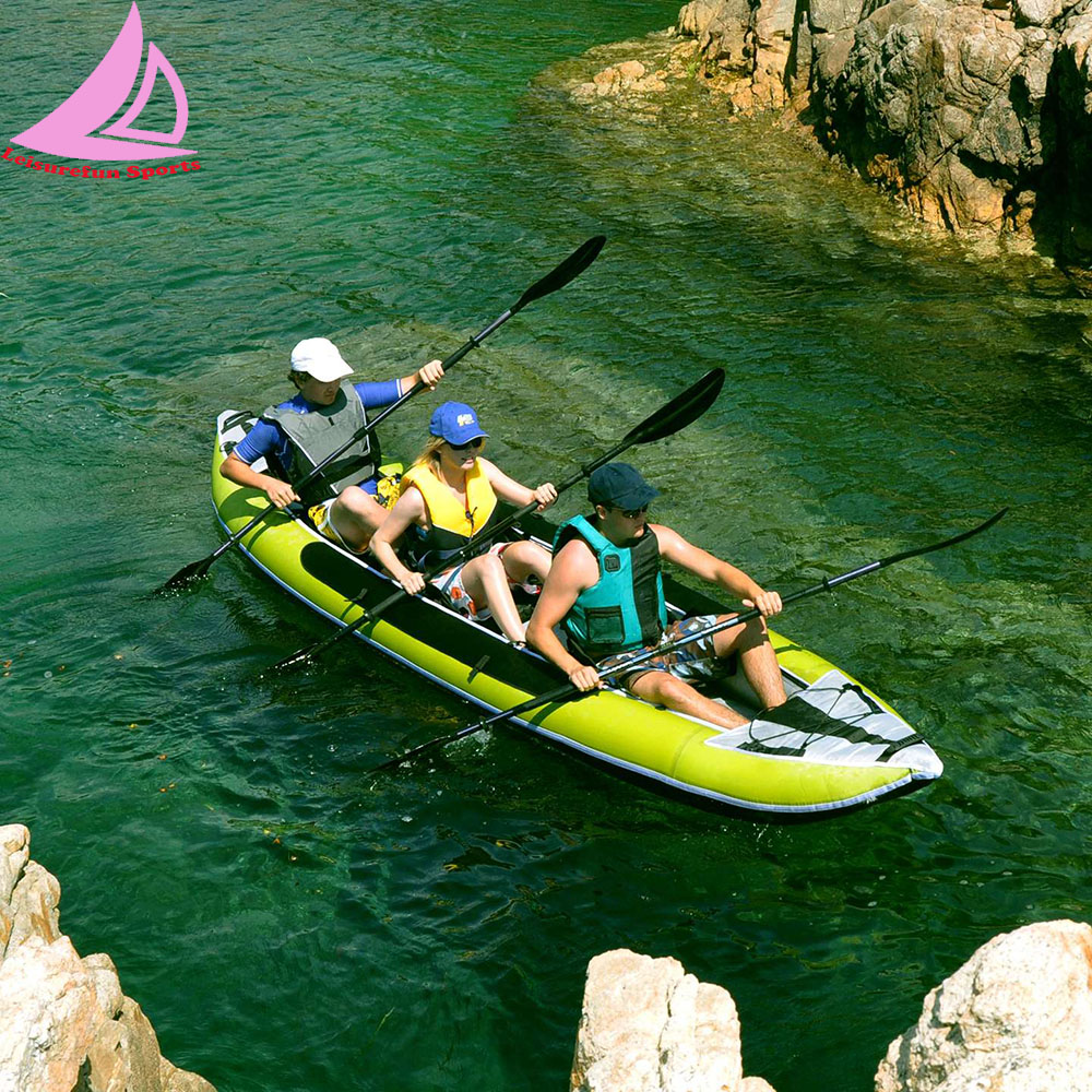 Hot selling inflatable 3 person fishing kayak