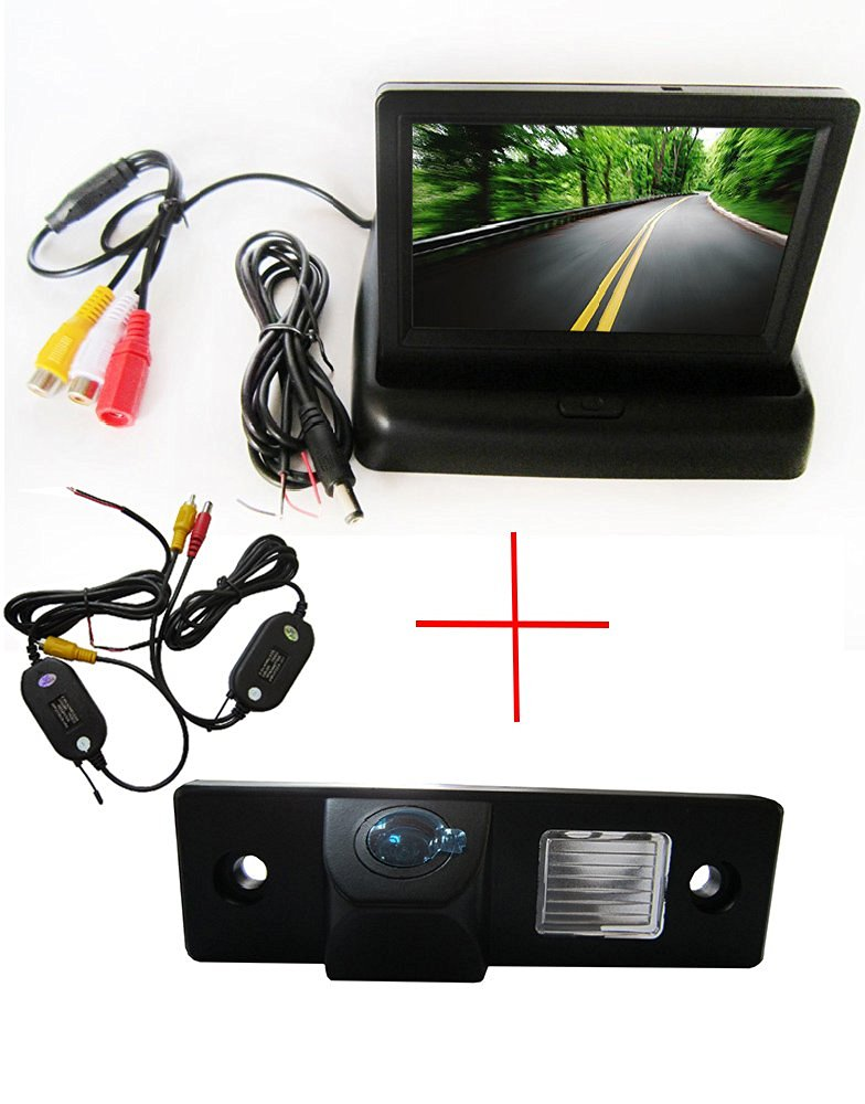 Wireless CCD Color Car Auto Vehicle HD Back Up Rear View Reverse Parking Camera for CHEVROLET Epica Lova Aveo Captiva Cruze Matis Lacetti Spark BUICK GL8 EXCELLE HRV,with Foldable 4.3 Inch Color LCD TFT Rearview Monitor Screen Car Backup Monitor
