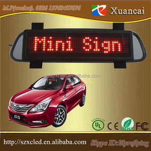 Rechargeable battery Nylon straps mounted car sun visors LED Mini car sign display screen
