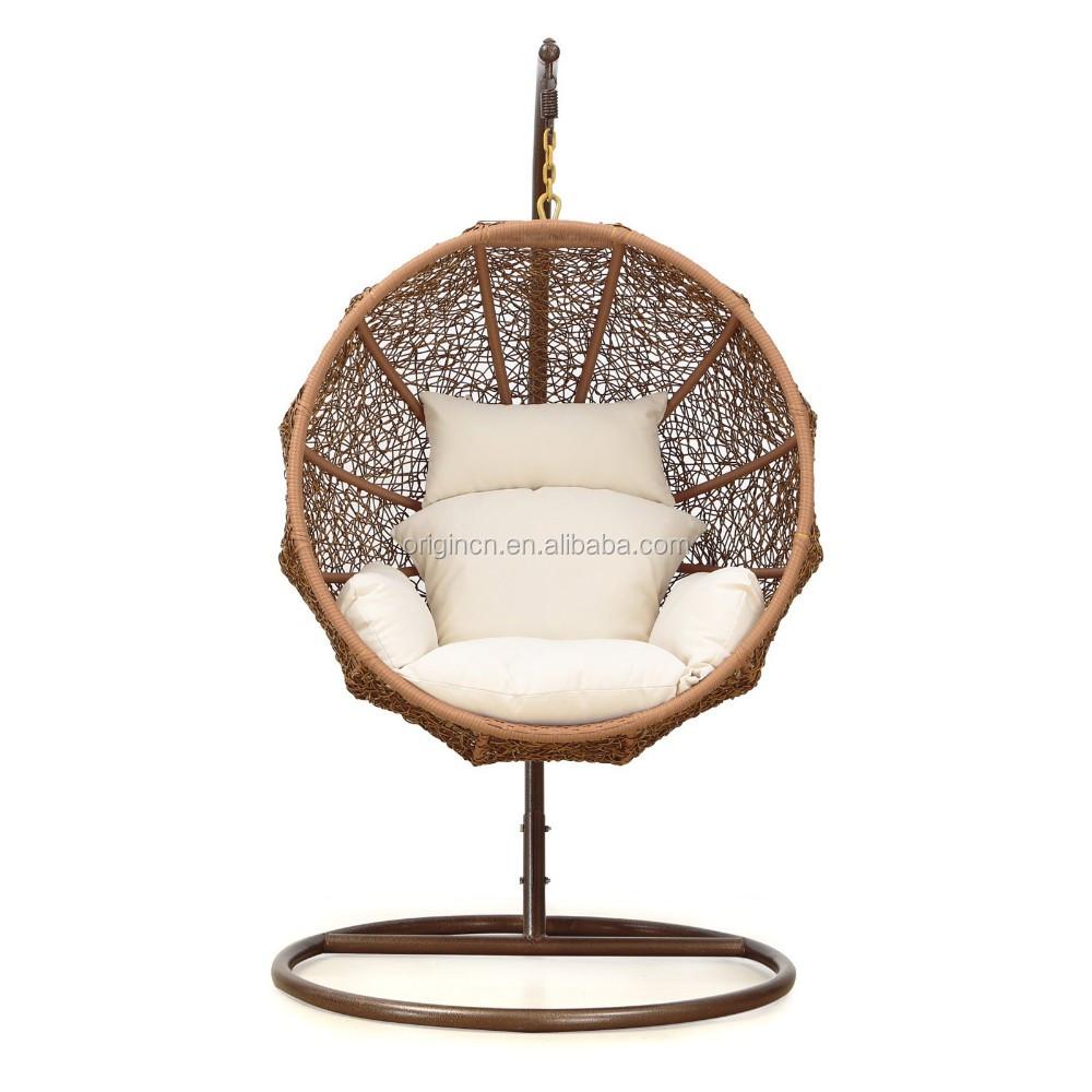 Coconut Shaped Outdoor Patio Hanging Basket Summer Rattan Swing ...