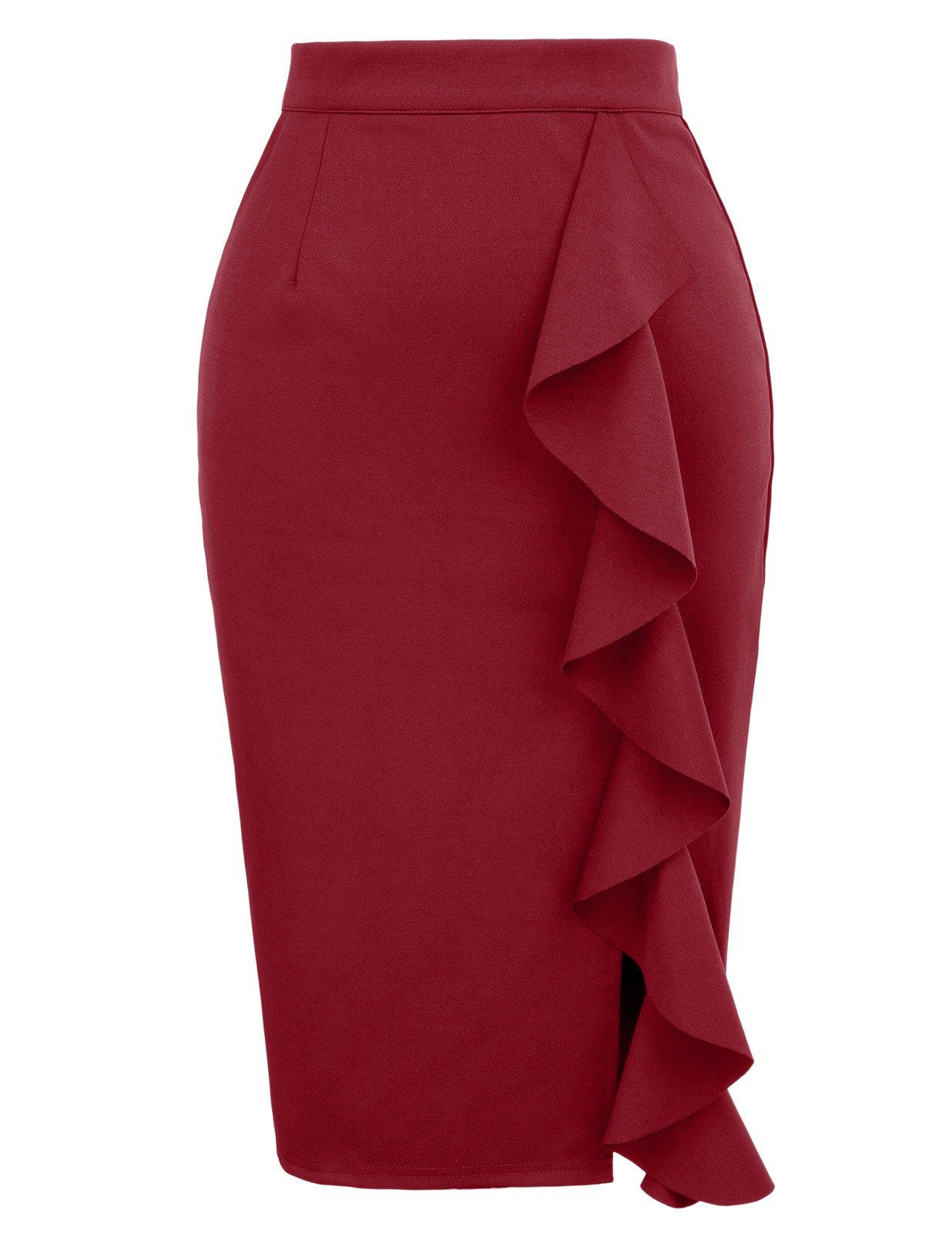 68b75379a03 Get Quotations · GRACE KARIN Women s Ruffle Bodycon Knee Length Midi Pencil  Skirt