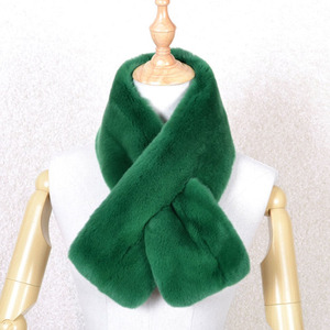 Green color fashion short style lady fur scarf real rex rabbit fur scarf