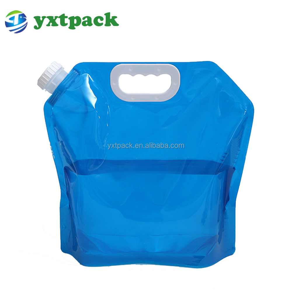 environmental foldable outdoor camping stand up plastic spout 5L 10L drinking water bags with portable handle