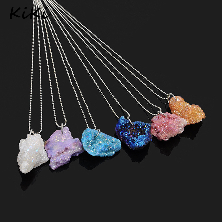 >>>2017 cracked natural stone real amethyst necklaces large crystal stone colorful pendant necklace
