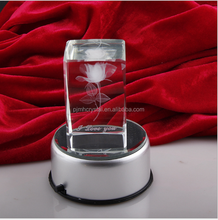 MH-FT0062 LED light Rose crystal wedding gift 3d laser etched crystal cube
