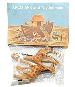 ARCO Noah's Ark Giraffe Plastic Toys on Card NOS