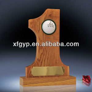 Art minds resin golf ball trophy No.1 shaped wood plaques