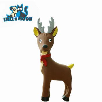 christmas deer shaped durable squeaky molars latex dog chew toy wholesale
