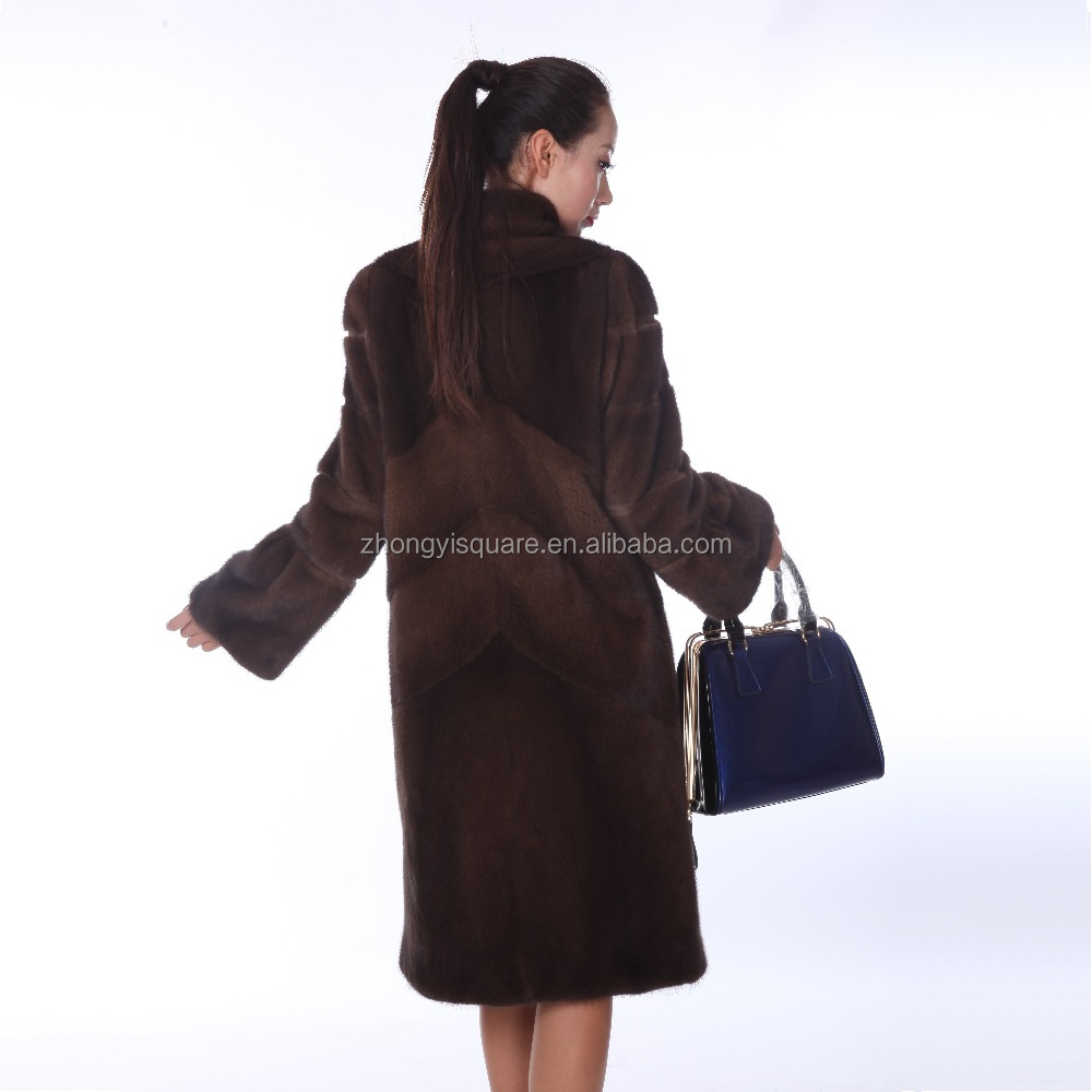 Y15A002 Horizontal natural black mink fur coat with genuine leather belt