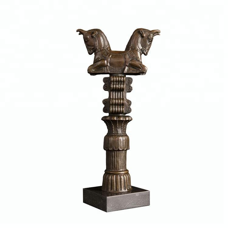 Artshom AH-DW-005 Bronze Horse Head Figurine Statue Animal Bust Sculpture with Marble Base Office Desk Living Room Decor