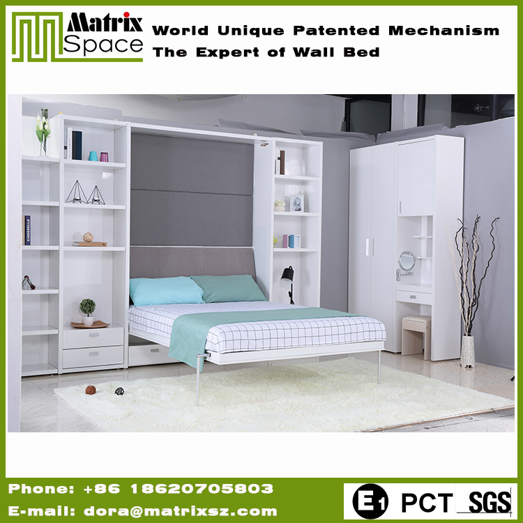 UV Board Wall Bed Modern Double Bed For Saving Space