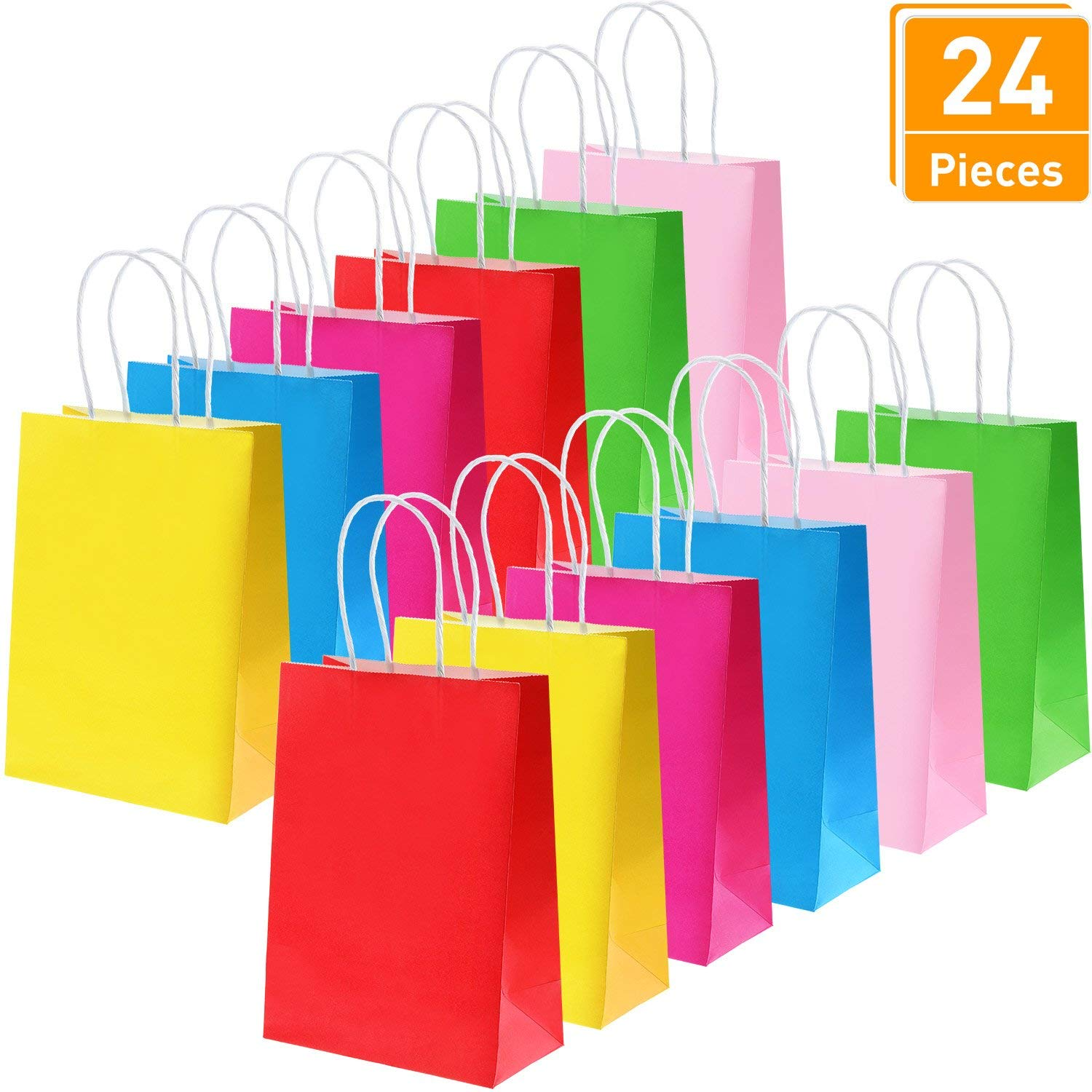 Tatuo 24 Pieces Paper Party Gift Bags Kraft Candy With Handle For Birthday Shopping Wedding Celebrations 6 Colors