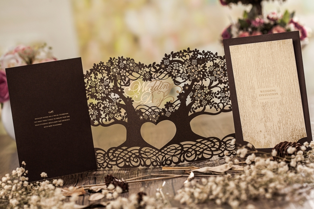 3d Magic Tree Wedding Invitation Card Laser Cut Cw5023