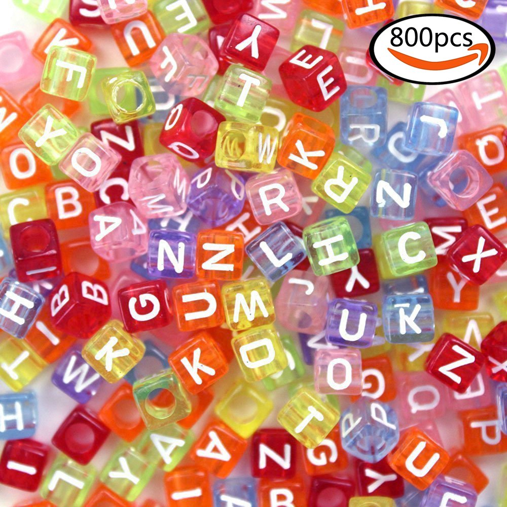 """JPSOR 800pcs Letter Beads Mixed Assorted Translucent Color Acrylic Plastic Beads Alphabet Beads for Jewellery Making """"A-z"""" Cube Beads Size 6x6mm or 1/4"""" for Bracelets, Necklaces"""