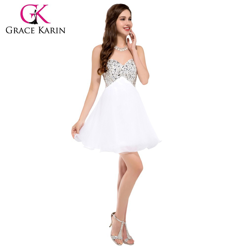 Grace Karin Sexy Strapless Sweetheart Beaded Nude Short Cocktail ...