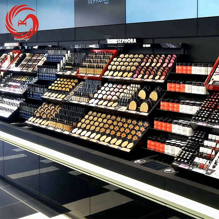 Negozio di cosmetici make up prodotti display rack di design per la vendita