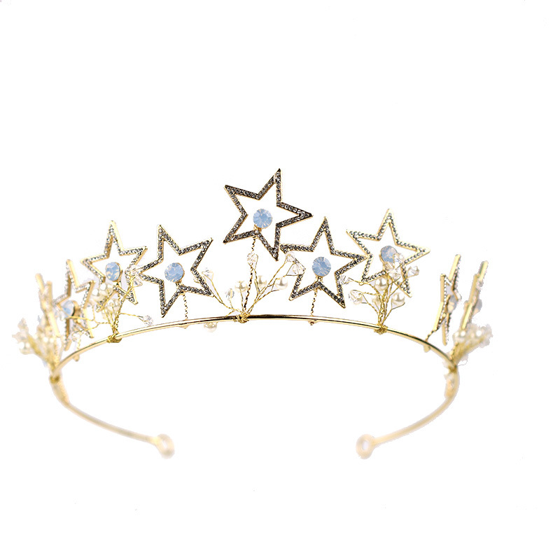 Wholesale gloden star tiara crown princess queen beauty pageant crowns