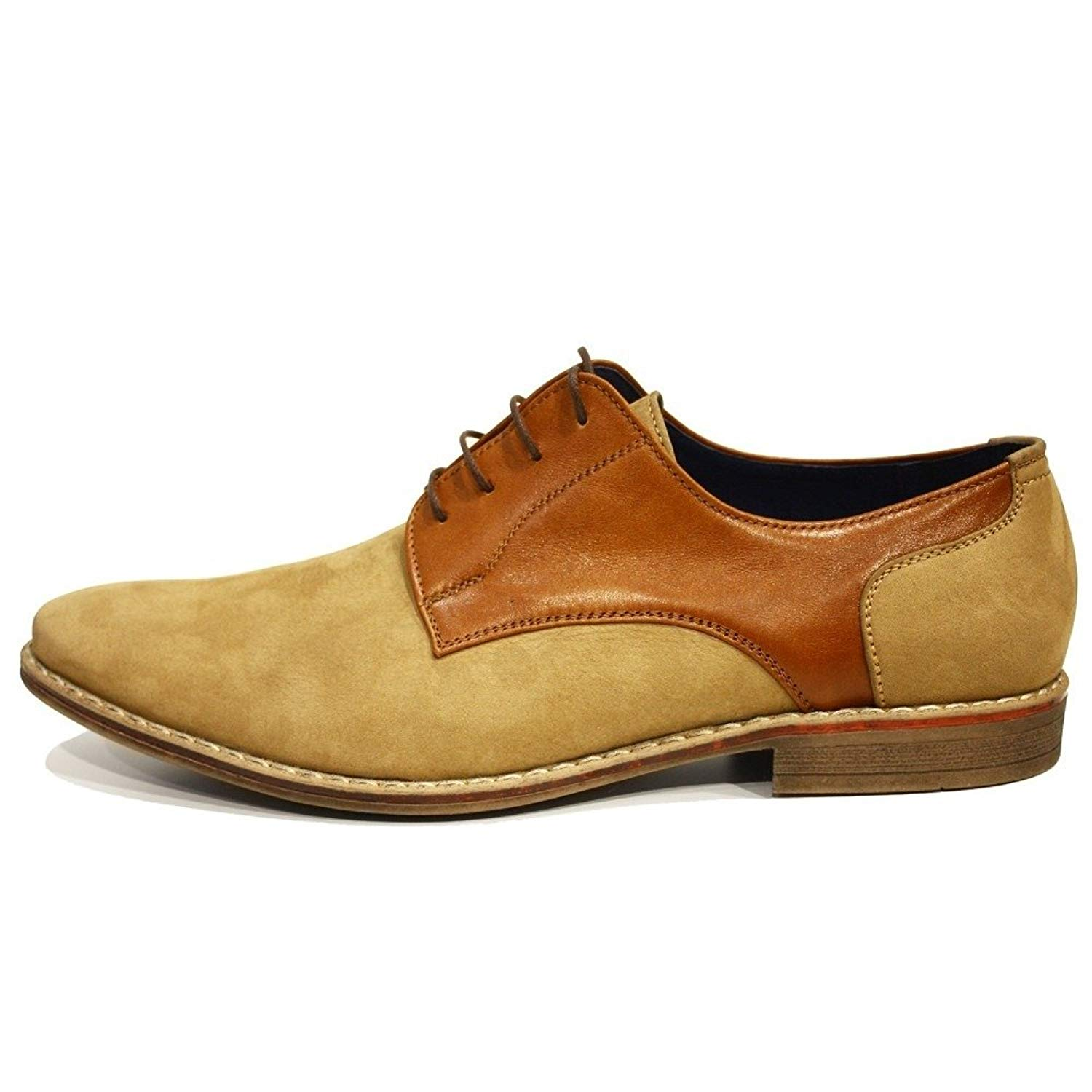 Modello Pepito - Handmade Italian Mens Brown Oxfords Dress Shoes - Cowhide Suede - Lace-up