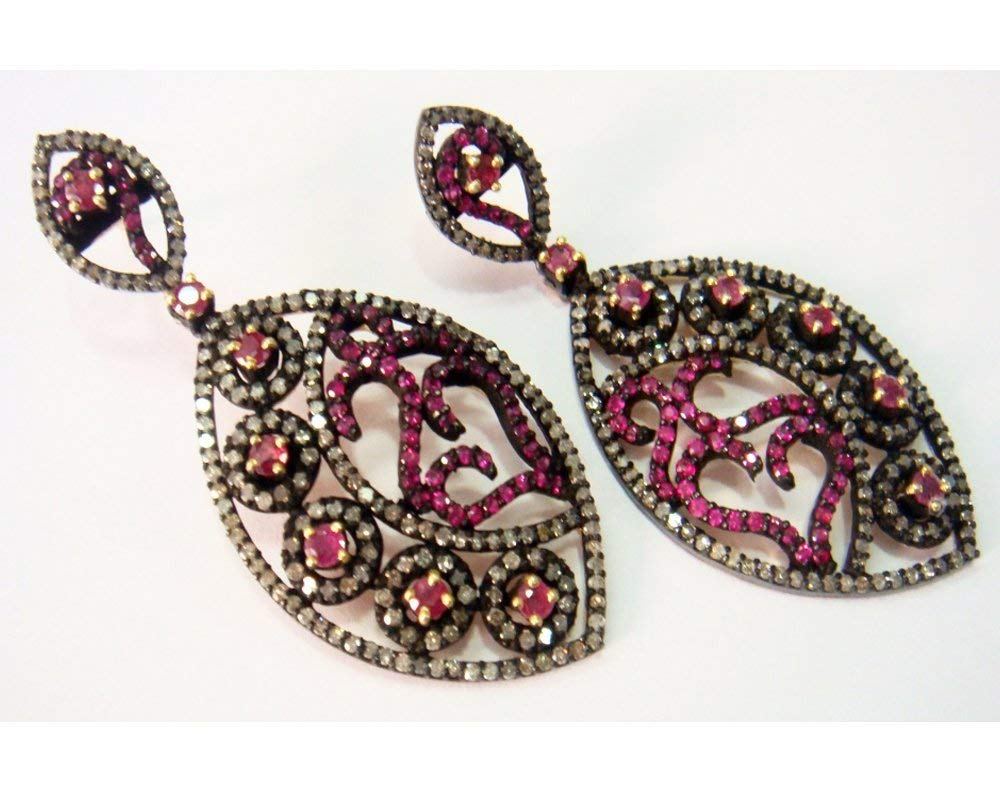 Victorian Reproduction Diamond Earrings - Pave Diamond Earrings - Ruby Diamond Earrings - High Diamond Earrings - Rose Cut Earrings
