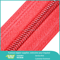 Clear large teeth polyester tape long chain nylon zipper red
