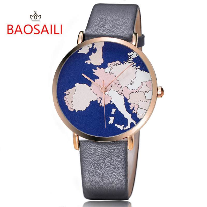 BAOSAILI World Map Cartoon Fase Watch Leather Handbags Custom Logo