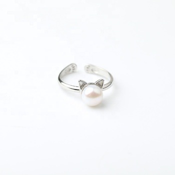 Simple Jewelry Cat Ear Designs Pearl Ring Engagement Rings For