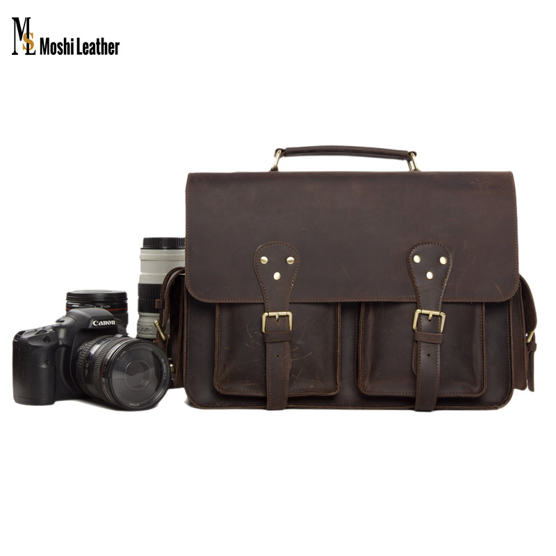 7145 Leather Brown Vintage Look Britpop SLR Leather Bag Shoulder Leather Camera Case