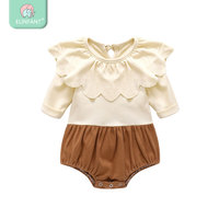 wholesale Elinfant New Stylish Summer plain white ruffle infant baby rompers ropa de bebes