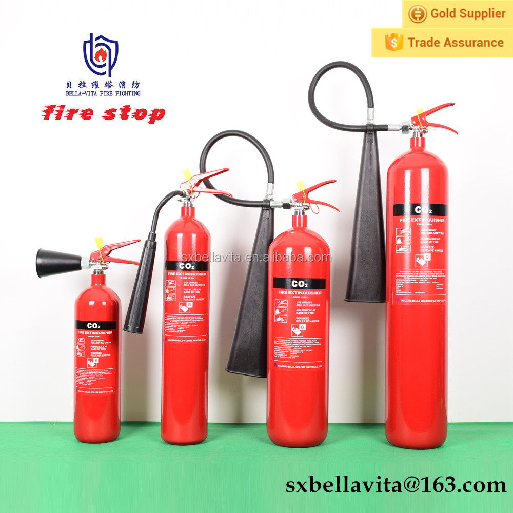 2kg-7kg portable CO2 fire extinguisher,9kg-45kg wheel trolley CO2 fire extinguisher