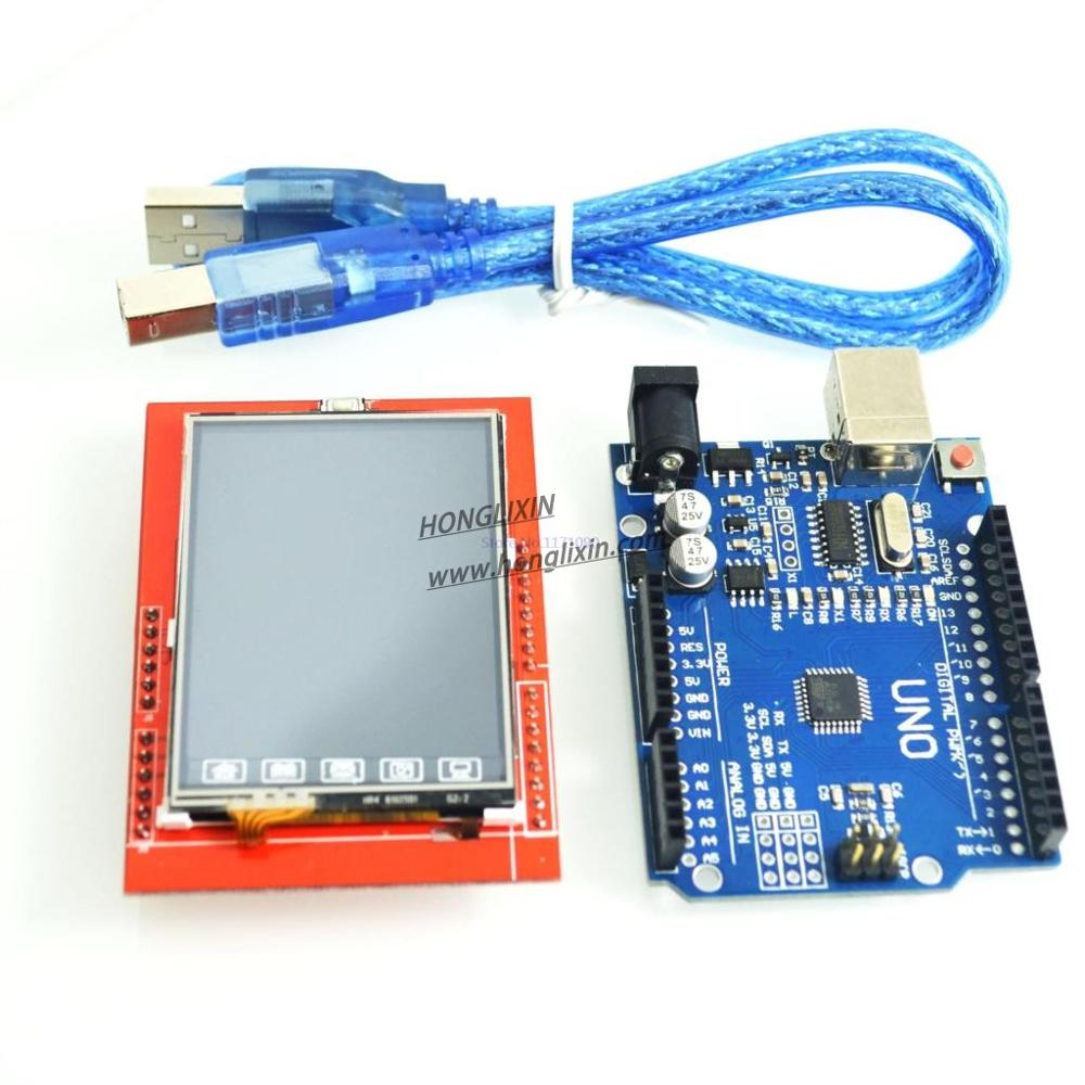 UNO R3 MEGA328P ATMEGA16U2 For Arduinos +2.4 Inch TFT Touch LCD Screen Module ForArduinos UNO