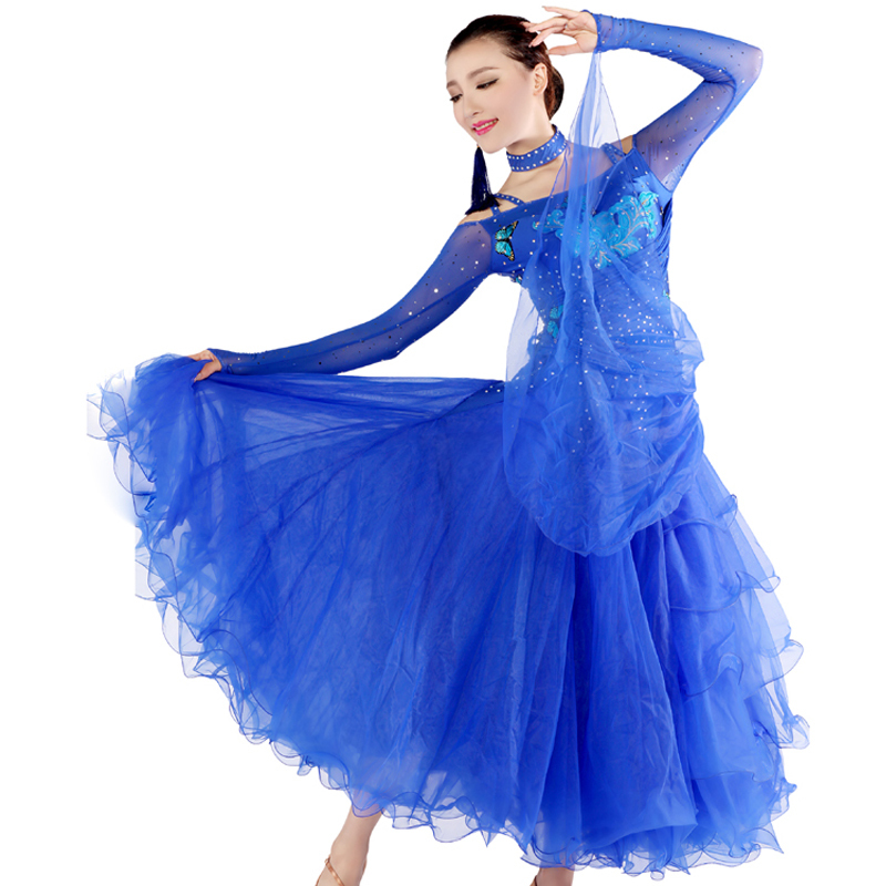 497bd4570455 Get Quotations · multi colour new ballroom competition dress big pendulum  waltz Modern dance costume long sleeves flower luxury